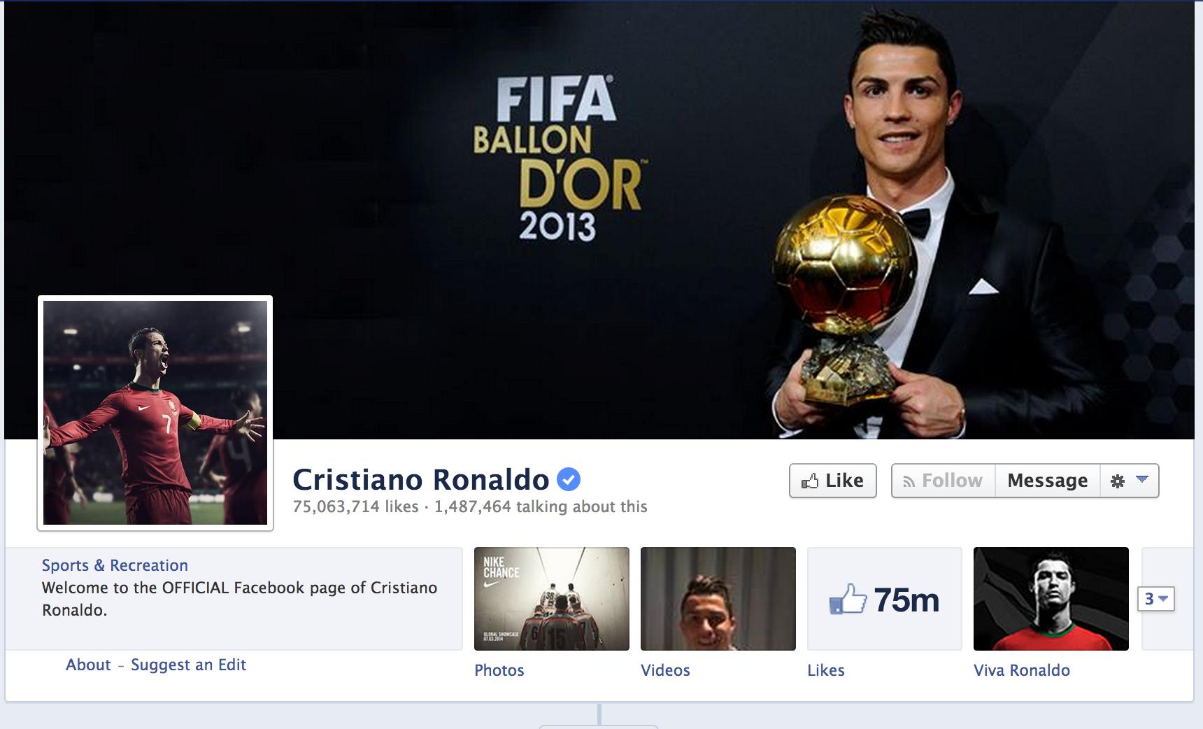 Cristiano Ronaldo on Facebook