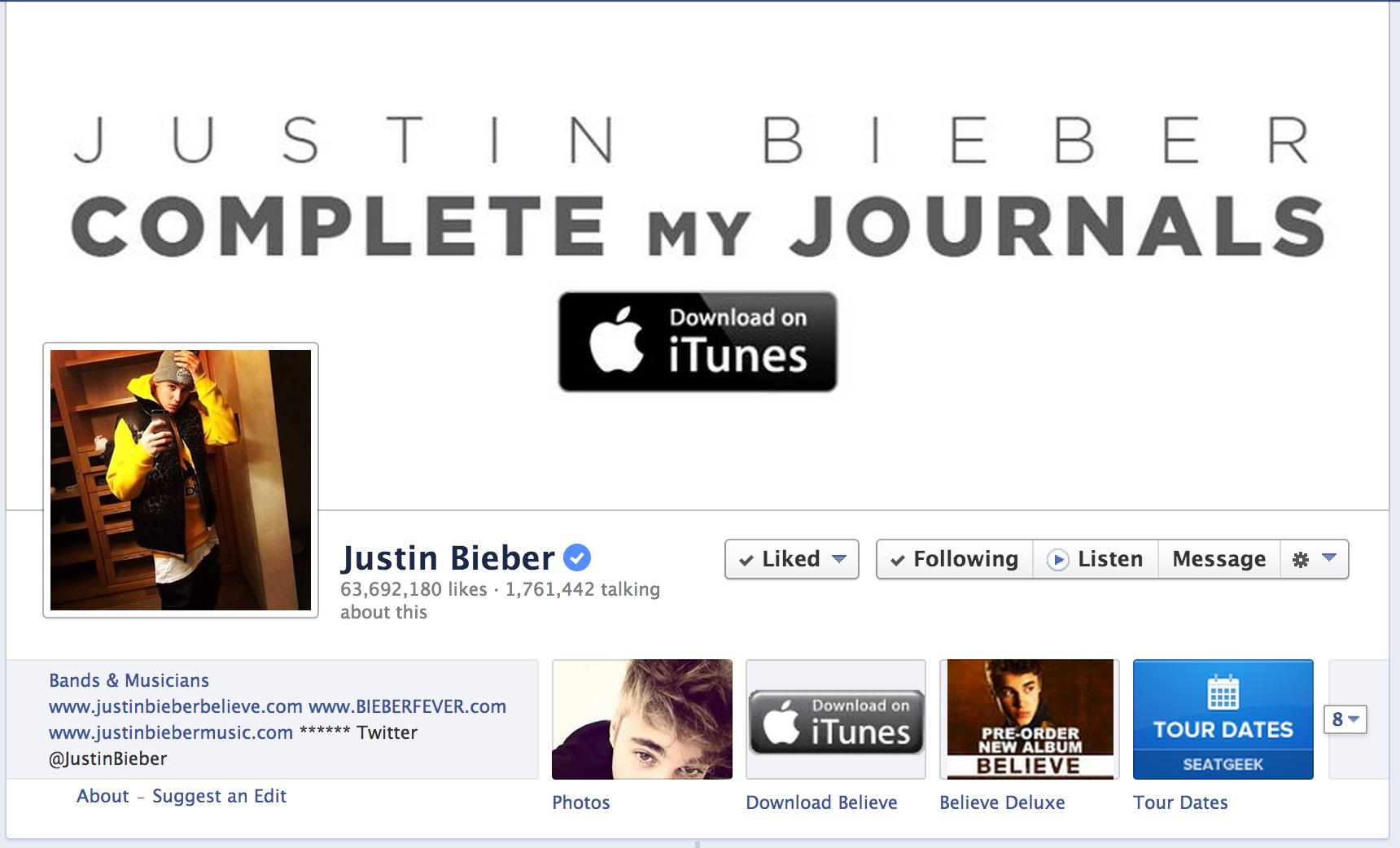 Justin Bieber on Facebook