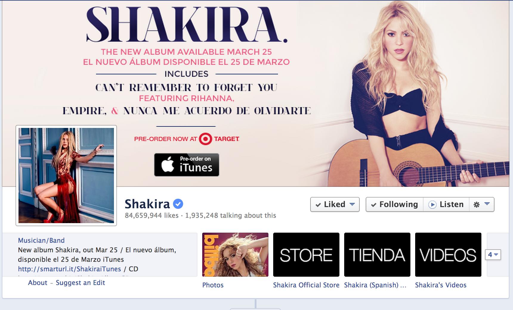 Shakira on Facebook